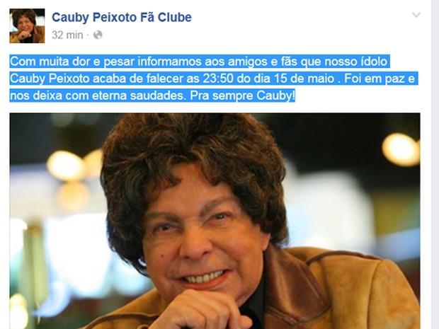 Cauby (Foto: Reprodução/ Facebook)