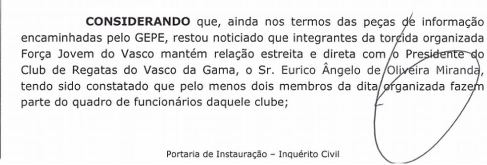 MPRJ investi ligação entre Vasco e Força Jovem (Foto: Reprodução)
