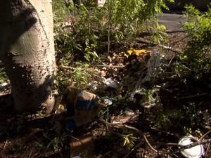 Móveis e restos de construção são encontrados no local, Avenida Liberdade, São Carlos (Foto: Wilson Aiello/EPTV)