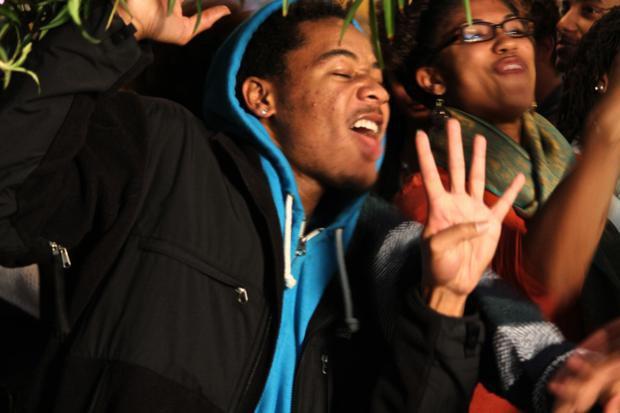 Democratas celebram vitória de Obama nesta terça-feira (6) em Chapel Hill, na Carolina do Norte (Foto: Beatriz Rey/G1)