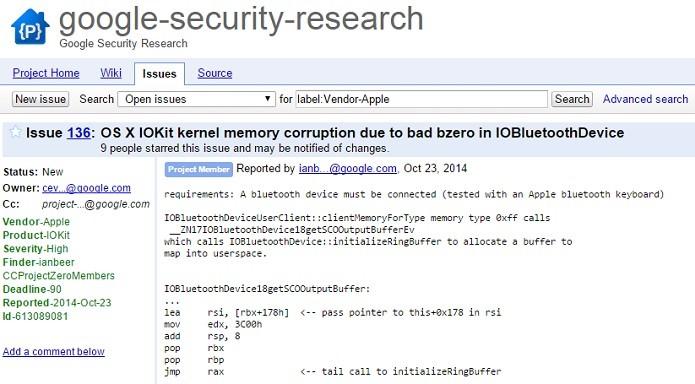 Google revelou detalhes de falhas de segurança no Mac OS (Foto: Reprodução/Thiago Barros)