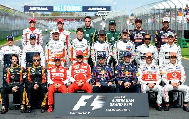 Pilotos posados temporada 2013 fórmula 1 (Foto: Agência AFP)