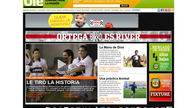 jornal Olé decisão Libertadores Olimpia Atlético-MG (Foto: Reprodução / Olé.ar)