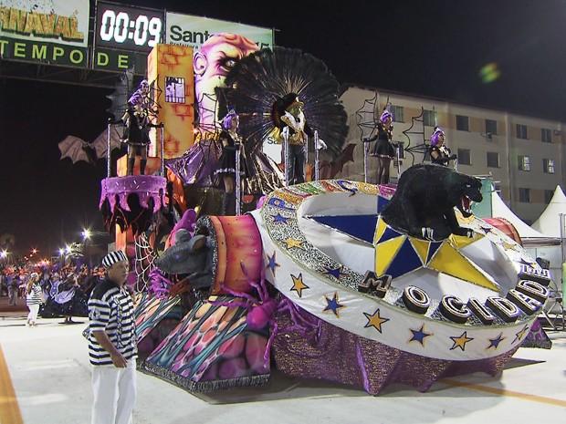 Grupo de Acesso abriu os desfiles do carnaval de Santos, SP (Foto: Reprodução/TV Tribuna)