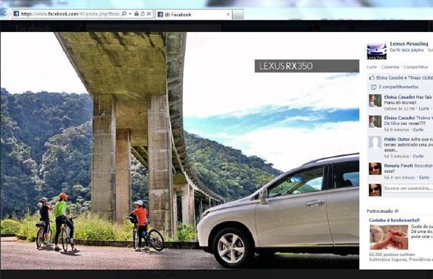 Ciclista foi reconhecido e marcado em álbum da Lexus no Facebook (Foto: Reprodução/Arquivo Pessoal)