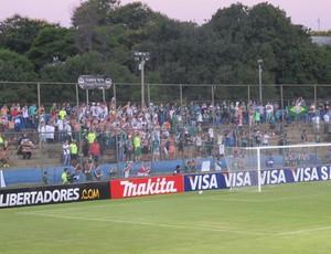 Torcida do Palmeiras no jogo contra o Libertad, em Assunção (Foto: Marcelo Prado / globoesporte.com)