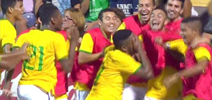 Comemoração do Brasil contra o Levante, sub-20 (Foto: Reprodução)