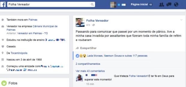 Vereador Folha fala sobre assalto em rede social (Foto: Reprodução/Facebook)