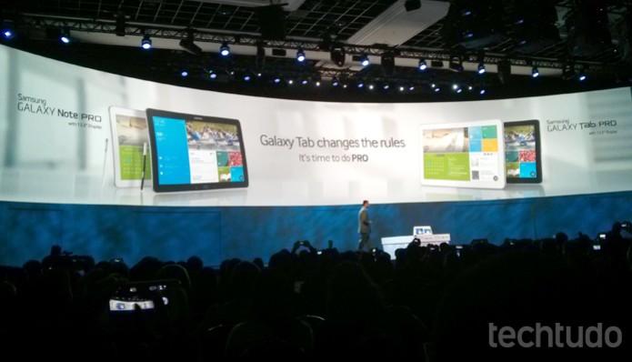 Samsung lançou dois novos tablets de 12.2 polegadas: Galaxy Tab Pro e Galaxy Note Pro (Foto: Isadora Díaz / TechTudo)