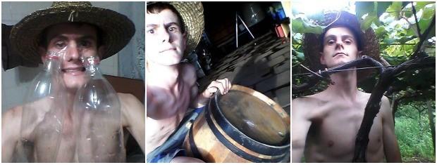 Nas fotos, Marcos diz que está rindo litros, empinando uma pipa e tirando uma selfie com o Parreira (Foto: Arquivo Pessoal)