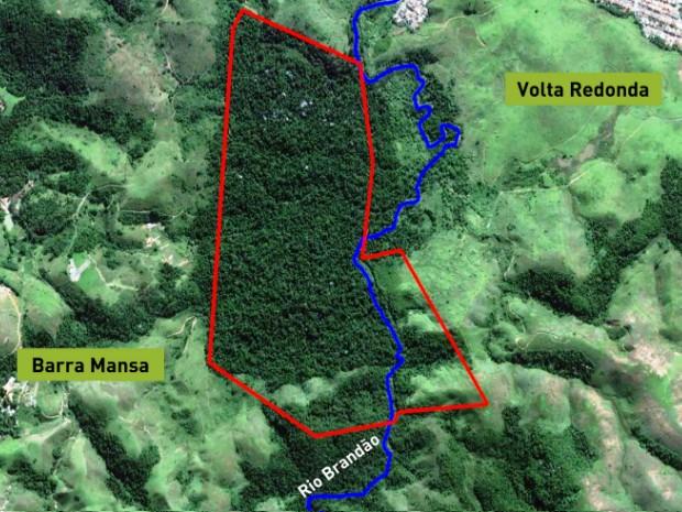 No mapa, área em vermelho indica a ARIE  Floresta da Cicuta (Foto: Arquivo/ICMBio-ARIE Floresta da Cicuta)