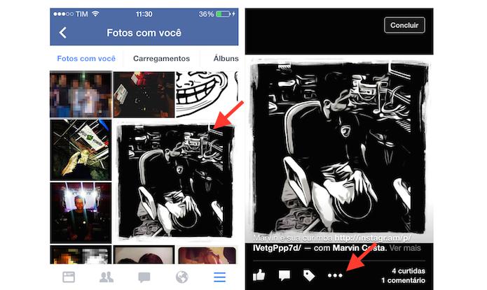 Abrindo uma foto onde um usuário foi marcado no Facebook para iPhone (Foto: Reprodução/Marvin Costa)