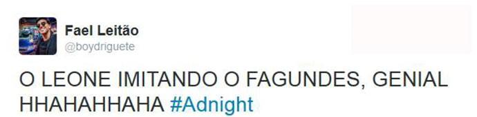 Público adorou imitações de Gabriel Leone no Adnight (Foto: Reprodução)