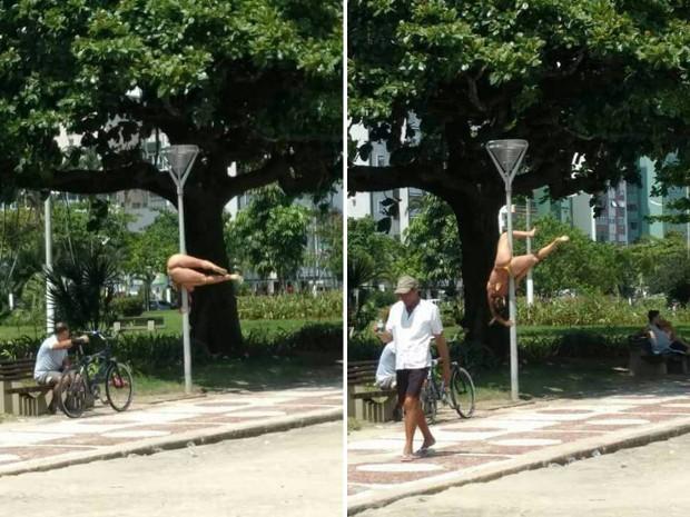 Mulher faz pole dance em poste na praia de Santos, SP (Foto: G1)