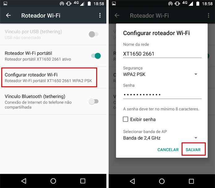 Depois que definir um nome e senha para sua rede, o Moto Z já poderá compartilhar internet (Foto: Reprodução/Aline Batista)