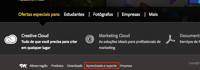 Acessando o link Aprendizado e suporte no site da Adobe (Foto: Reprodução/Edivaldo Brito)