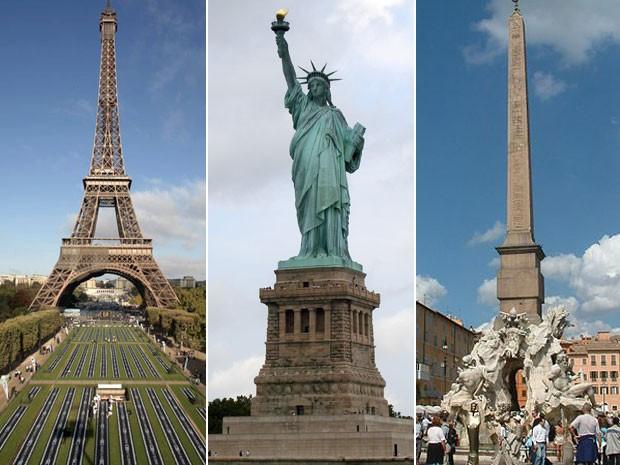 A Torre Eiffel, em Paris; a Estátua da Liberdade, em  Nova York; e a Piazza Navona, em Roma (Foto: AP Photo; Elcobbola/Creative Commons; Radomil/Creative Commons)