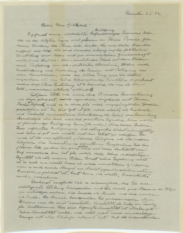 'Carta de Deus', enviada por Einstein ao filósofo Erik Gutkind (Foto: Reuters/Golan Weiser/Divulgação)