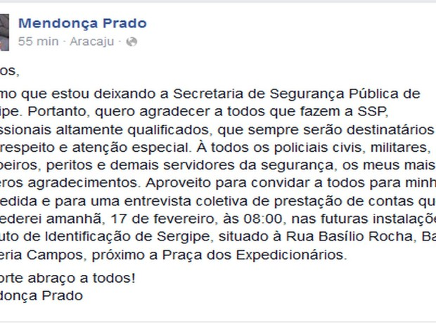 Mendonça Prado se despede em rede social (Foto: Reprodução/Facebook)