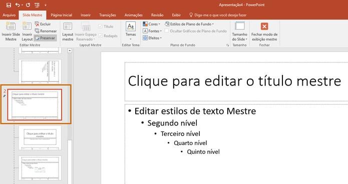 O item será adicionado na listagem de slides como segundo slide mestre (Foto: Reprodução/Barbara Mannara)