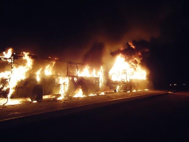 Manifestantes queimam ônibus em José de Freitas durante protesto (Foto: Coronel Pinheiro/ Portal JF Agora)