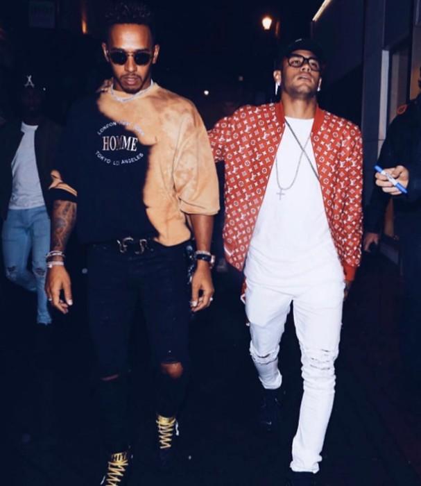Neymar e Hamilton em Londres (Foto: Instagram/Reprodução)