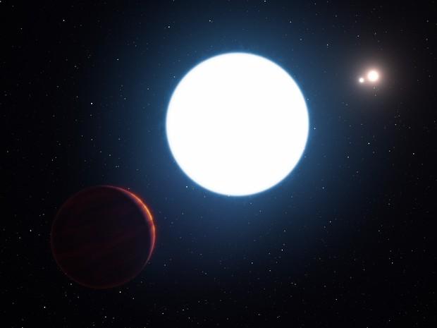 Desenho artístico mostra vista da estrela tripla (Foto: ESO/L. Calçada)