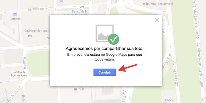 Concluindo o upload de uma foto para um local do Google Maps pelo computador (Foto: Reprodução/Marvin Costa)