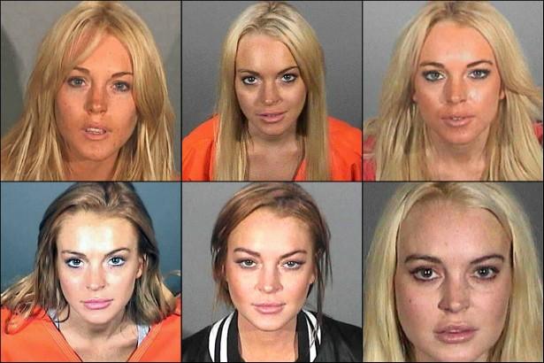 Lindsay Lohan já foi detida pela polícia por inúmeras razões, geralmente envolvendo um automóvel: dirigir com a carteira de motorista suspensa, dirigir sob efeito de álcool e/ou outras drogas, tirar racha, porte de drogas. Parece que a atriz está mais tranquila depois da última temporada numa clínica de reabilitação. Tomara! (Foto: Divulgação)