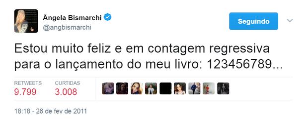 Tweet de Ângela Bismarchi (Foto: Reprodução/Twitter)