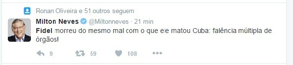 Milton Neves comenta morte de Fidel (Foto: Reprodução/Twitter)