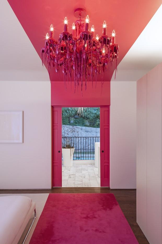 Décor do dia faixa rosa choque no quarto branco Casa  ~ Quarto Rosa Choque