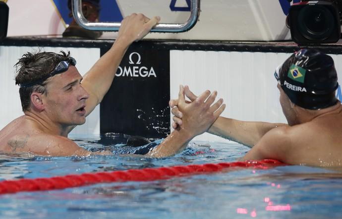 Ryan Lochte e Thiago Pereira final 200m medley Mundial Kazan (Foto: Michael Sohn/AP)