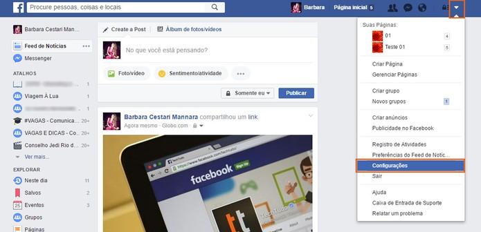Abra as configurações na sua conta do Facebook (Foto: Reprodução/Barbara Mannara)