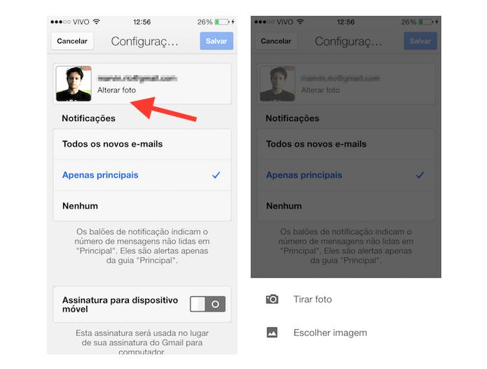 Acessando a ferramenta de imagem do perfil no aplicativo Gmail para iOS (Foto: Reprodução/Marvin Costa)