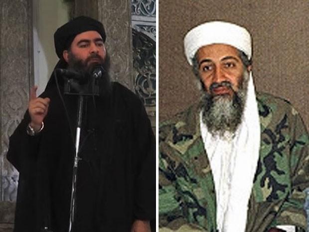 À esquerda, Bakr Al-Baghdadi, denominado califa do Iraque, líder do Estado Islâmico. À direita, o fundador da Al-Qaeda, Osama bin Laden, já morto (Foto: AFP e Reuters)