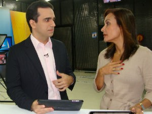 Filipe Toledo e Liara Nogueira no comando do ALTV 1ªEdição  (Foto: Divulgação/ Rodrigo Lino)