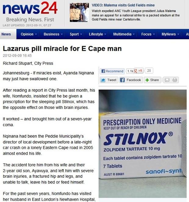 Sonífero ajudou homem a se recuperar de coma (Foto: Reprodução/News 24)