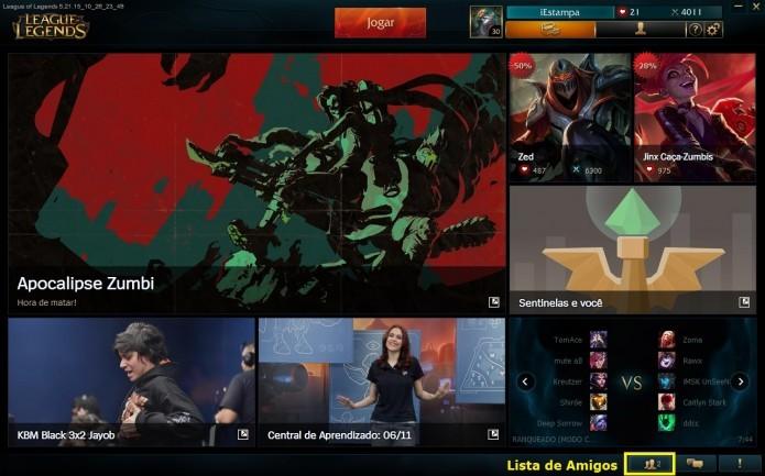 Acesse o menu de amigos em League of Legends (Foto: Reprodução/Paulo Vasconcellos)