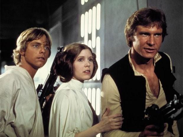 Mark Hamill, Carrie Fisher e Harrison Ford em cena de 'Guerra nas estrelas'  (Foto: Divulgação)