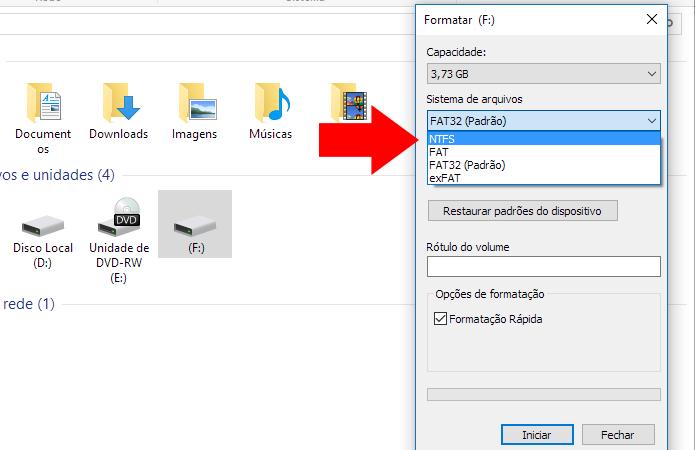 Selecione NTFS como sistema de arquivos (Foto: Reprodução/Paulo Alves)
