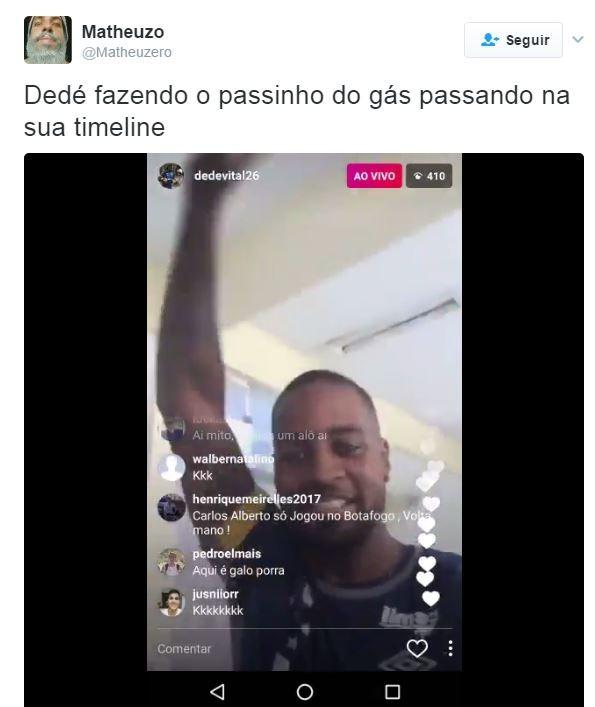 Jogador Dedé fazendo o passindo do Gás (Foto: Reprodução/Twitter)