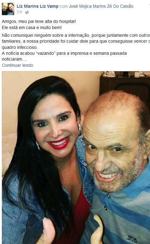 Liz Marins e pai (Foto: Reprodução / Facebook)