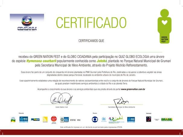 Certificado de apadrinhamento de árvores do Green Nation Fest (Foto: Reprodução)