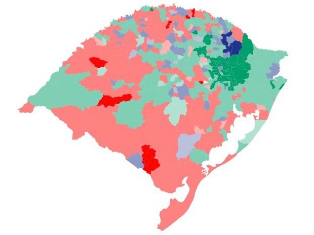 Eleição governador RS mapa (Foto: Arte/G1)