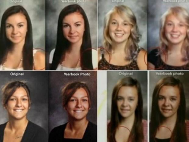 Escola criou polêmica ao esconder decotes de alunas em anuário (Foto: Reprodução/YouTube/NewsBreaker)