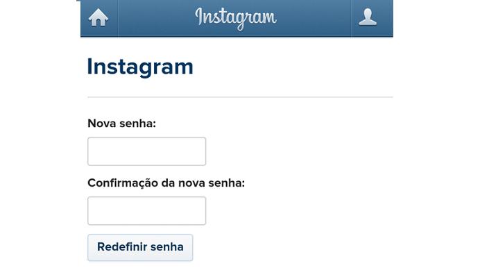 Redefinindo uma nova senha para o Instagram (Foto: Reprodução/Lívia Dâmaso)