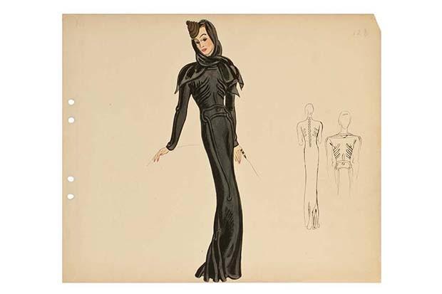 "Elsa Schiaparelli in collaboration with Salvador Dali: Illustration for the ""Skeleton"" dress, A/W Haute Couture 1937, ink and gouache on paper (Foto: COPYRIGHT LES ARTS DÉCORATIFS, PARIS/JEAN THOLANCE)"