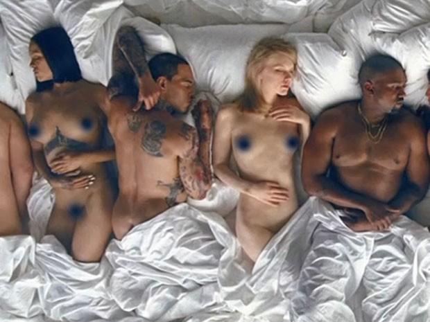 Rihanna, Chris Brown, Taylor Swift e Kanye West são retratados em clipe (Foto: Reprodução)