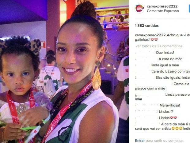 Tais Araújo com a filha em camarote de Salvador. Bahia (Foto: Reprodução / Instagram)
